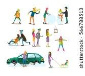 vector set of characters... | Shutterstock .eps vector #566788513