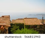 red roof scenery of eze village | Shutterstock . vector #566811943
