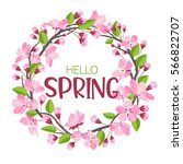 wreath from spring flowers....   Shutterstock .eps vector #566822707
