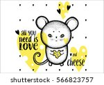 mouse love cheese   yellow... | Shutterstock .eps vector #566823757