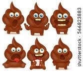 set of cute poop emoji... | Shutterstock .eps vector #566823883