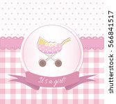 baby girl shower or arrival... | Shutterstock .eps vector #566841517