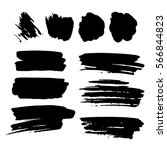 set of black paint  ink brush... | Shutterstock .eps vector #566844823