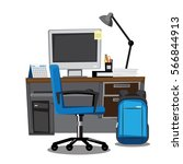 computer desk  workplace ... | Shutterstock .eps vector #566844913