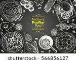 brazilian cuisine top view... | Shutterstock .eps vector #566856127