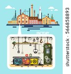 old factory   industrial flat... | Shutterstock .eps vector #566858893