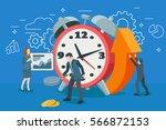 startup work moments. alarm... | Shutterstock .eps vector #566872153