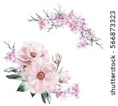 Stock photo watercolor flowers floral illustration in pastel colors rose bunch of pink flowers isolated on 566873323