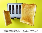 toast or toasted bread popping... | Shutterstock . vector #566879467