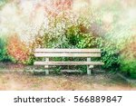 wooden bench at blossom bushes...