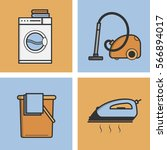 set of vector icons of laundry... | Shutterstock .eps vector #566894017