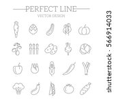 vegetable vector icon set | Shutterstock .eps vector #566914033