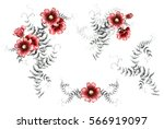 watercolor red flowers. floral... | Shutterstock . vector #566919097