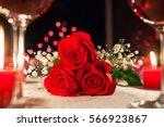 romantic dinner setting.  | Shutterstock . vector #566923867
