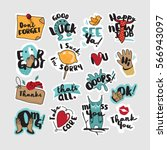collection of stickers and... | Shutterstock .eps vector #566943097