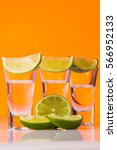 tequila shot with a slice of... | Shutterstock . vector #566952133