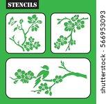 set of stencils. blossom cherry ... | Shutterstock .eps vector #566953093