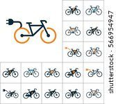 electric bicycle  e bike icons... | Shutterstock .eps vector #566954947
