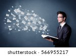 casual young man holding book...   Shutterstock . vector #566955217