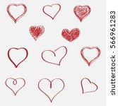 vector hearts set. hand drawn. | Shutterstock .eps vector #566961283