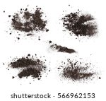 Set Pile Dirt Isolated On Whit...