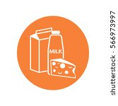 flat icon. milk and cheese.... | Shutterstock .eps vector #566973997