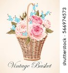 vintage basket with flowers | Shutterstock .eps vector #566974573