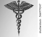 caduceus   silver metal medical ... | Shutterstock . vector #566979247