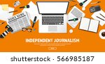 mass media background in a flat ... | Shutterstock .eps vector #566985187