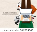 mass media background in a flat ... | Shutterstock .eps vector #566985343