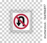no u turn sign. vector... | Shutterstock .eps vector #566986897