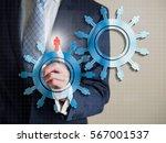 business man finger point a... | Shutterstock . vector #567001537