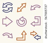 arrows mobile icon  next step... | Shutterstock .eps vector #567005737