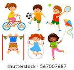 active kids playing outdoors | Shutterstock . vector #567007687