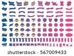 label ribbon banner pink vector ... | Shutterstock .eps vector #567009433