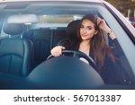 woman in car | Shutterstock . vector #567013387