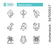 Stock vector flat symbols about garden animals thin line icons set 567020017