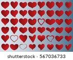 red heart vector icon... | Shutterstock .eps vector #567036733