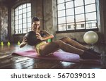 woman training with functional... | Shutterstock . vector #567039013