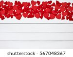 Red Hearts Border On White...