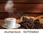 still life hot coffee and... | Shutterstock . vector #567056863