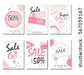 set of 6 discount  cards design.... | Shutterstock .eps vector #567059167