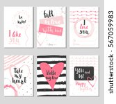 set of 6 valentines day gift... | Shutterstock .eps vector #567059983