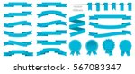 set of blue ribbons and round... | Shutterstock .eps vector #567083347