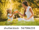beautiful mother and daughter... | Shutterstock . vector #567086233