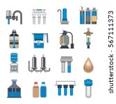 water filtration icons vector... | Shutterstock .eps vector #567111373