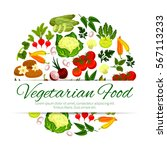 healthy vegetarian food banner. ... | Shutterstock .eps vector #567113233