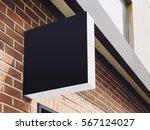 signboard shop mock up black... | Shutterstock . vector #567124027