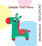 cute horse greeting card | Shutterstock .eps vector #567129193
