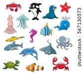 underwater animals set. sea...
